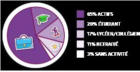 65% actifs, 20% d'étudiants, 17% de lycéens/collégiens, 11% de retraités, 3% sans activité